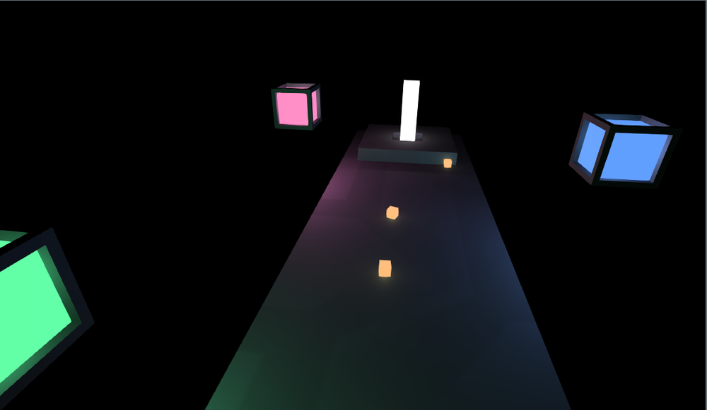 Simple colorful, glowing assets. You can see a teleport platform, a few yellow projectiles, and some glowing lantern things. I'll refine the assets before I release, but for now, they're perfect.