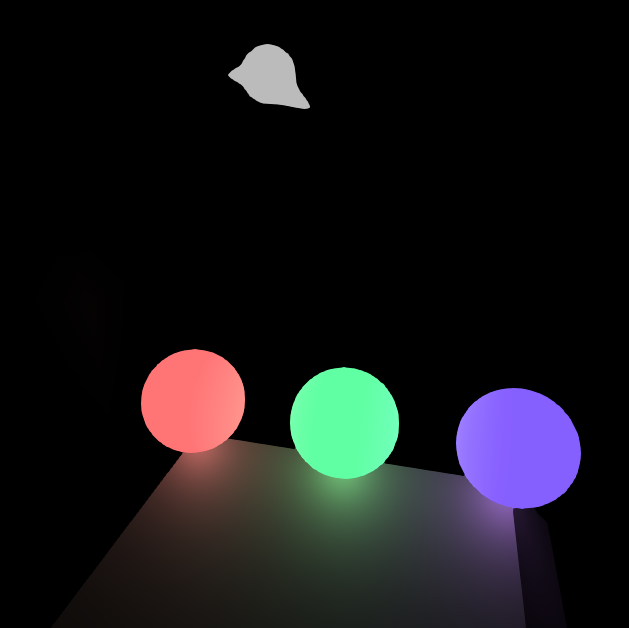"Here's a prototype of my current design, with three ""buttons"" that can be hit with a projectile. The ghost enemy in the background is paused."