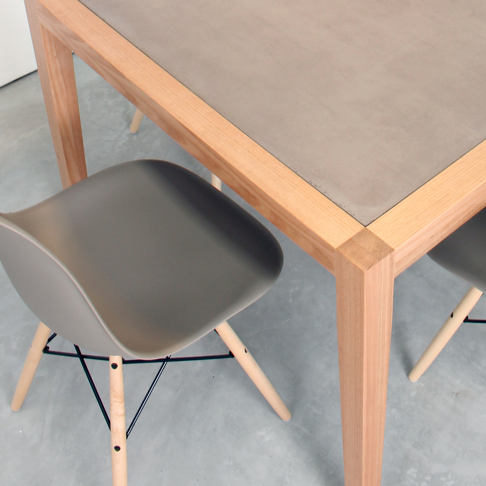 Neli Timber and Concrete Dining Table Set - 4 Seat