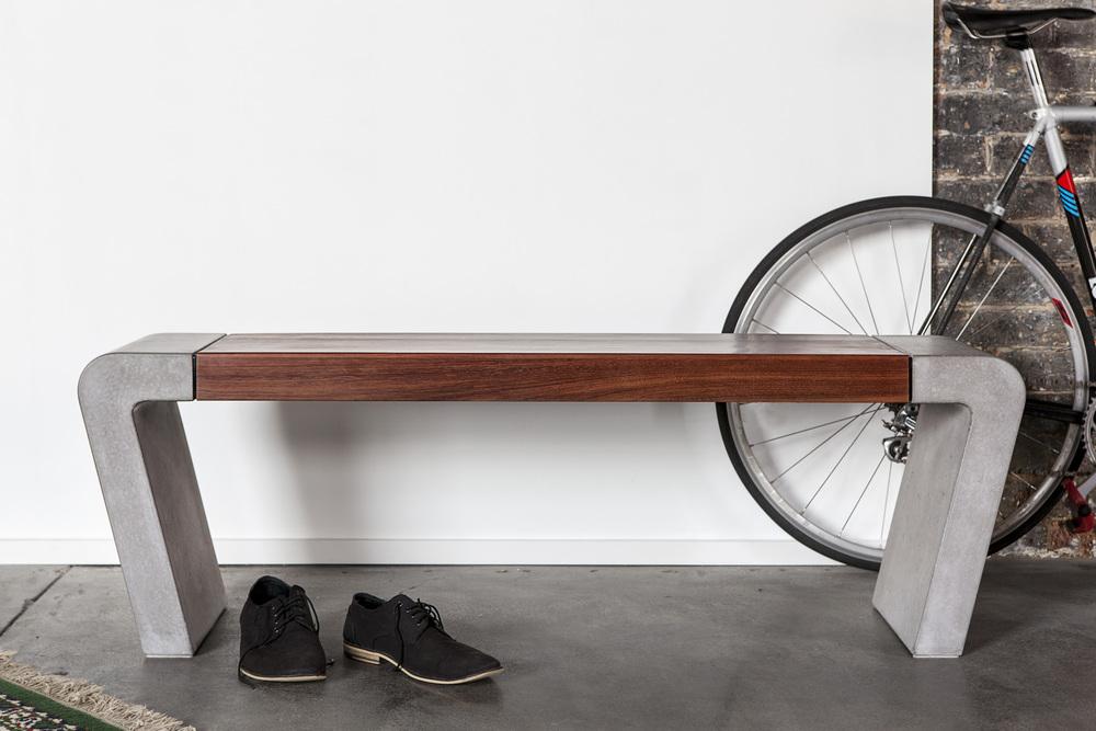 Istu Concrete Bench Seat - Reclaimed Ironbark and Concrete