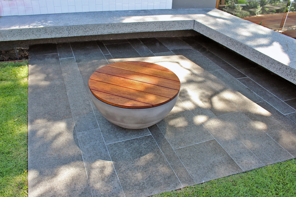 Tuli Concrete Fire Pit Table with Removable Timber Top