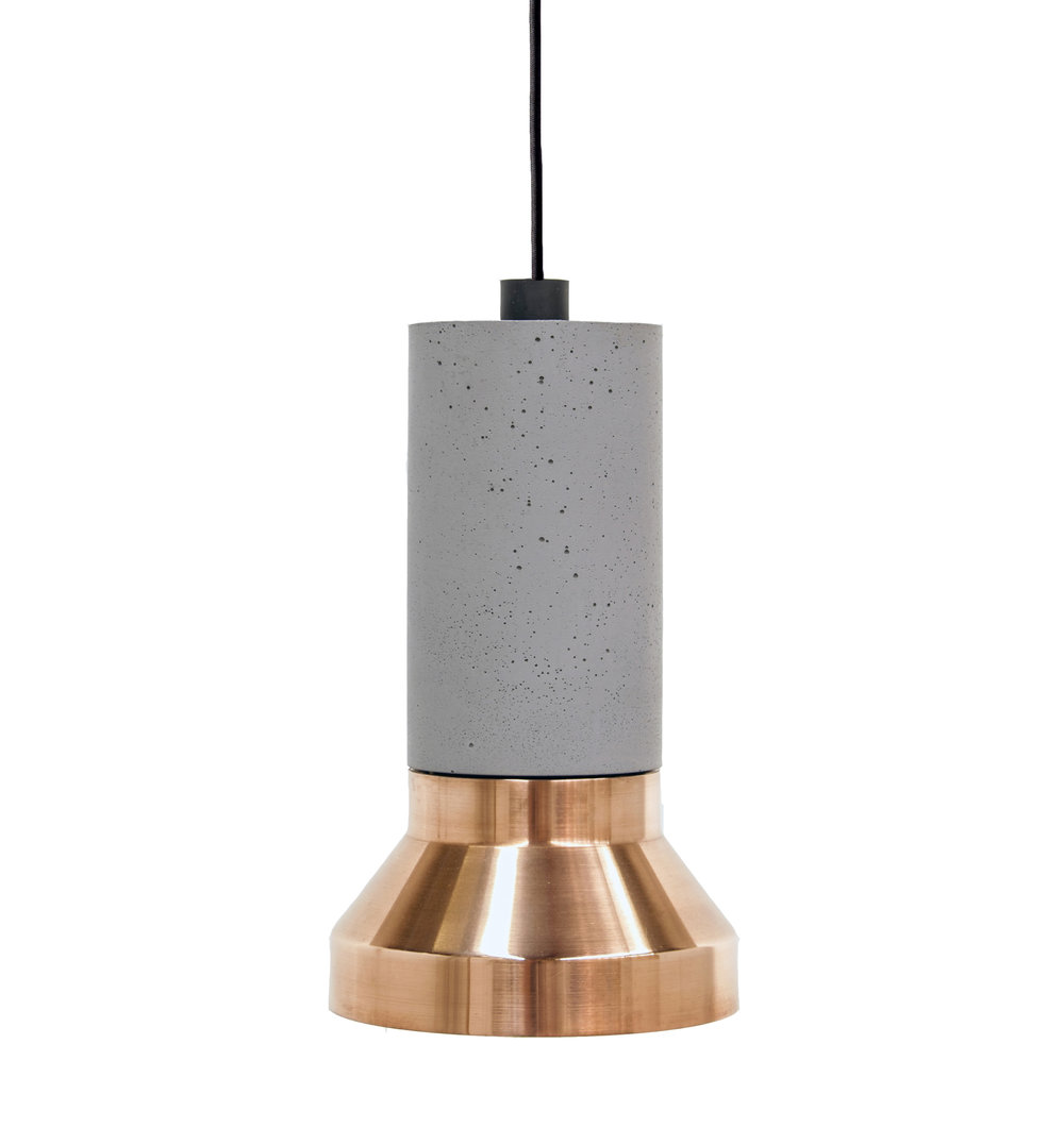 Spun Copper and Concrete Pendant Light