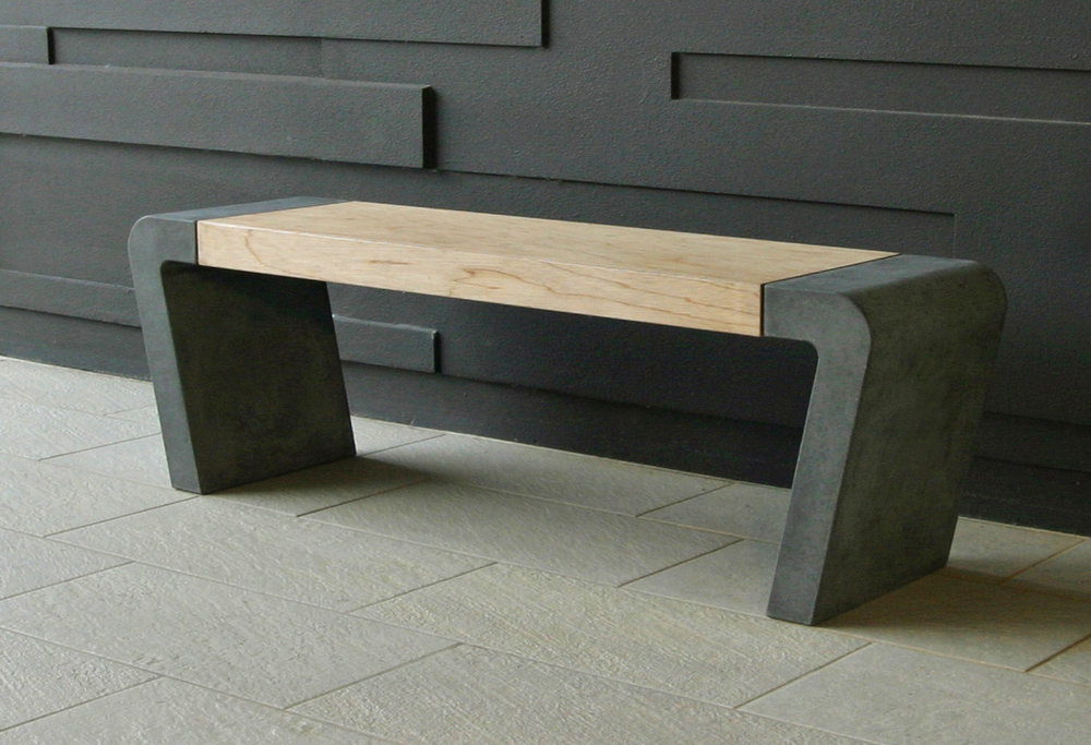 Istu Concrete Bench Seat - Birch Plywood and Concrete