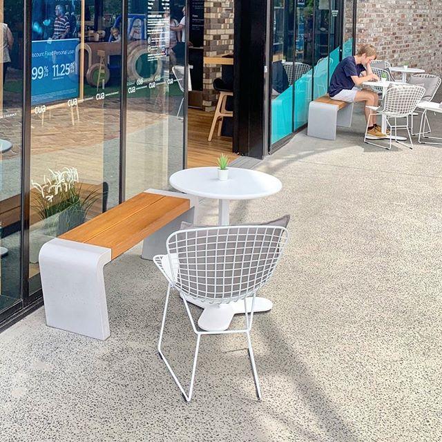 A couple of ISTU bench seats in European Oak. Photography by @jjjnepo #concrete #timber #design #architecture #interiordesign #landscapearchitecture #retail #construction #seat