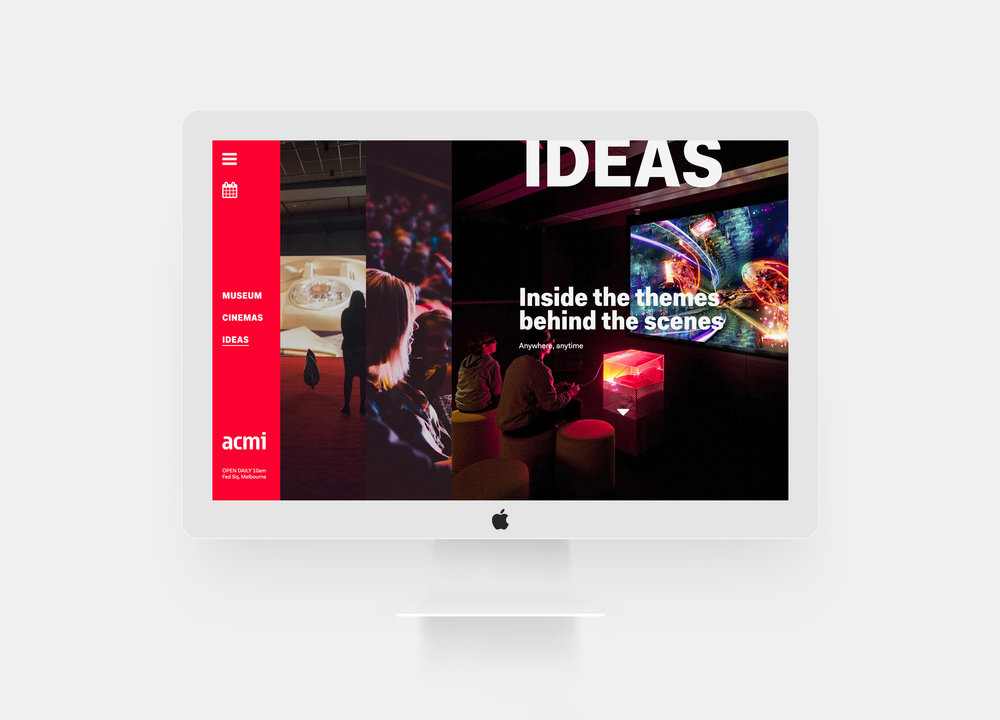 ACMI — Australian Centre for the Moving Image. Website design.