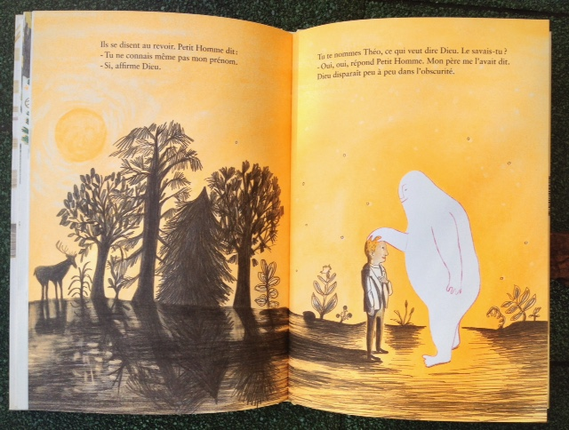 From  Le petit homme et Dieu , Pastel/l'ecole des loisirs, 2010. This elegant and wry story of a meeting between a             man and god challenges the limits of a picture book. It's all done with the lightest of touch.