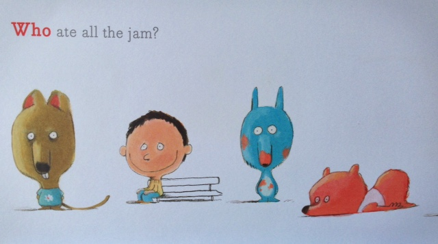 Why is the boy smiling? Did he eat all the jam? French jam will do that to a boy.