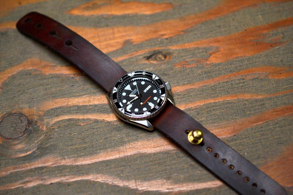 Leather Stud Watch Strap 'Redux' - Dark Brown