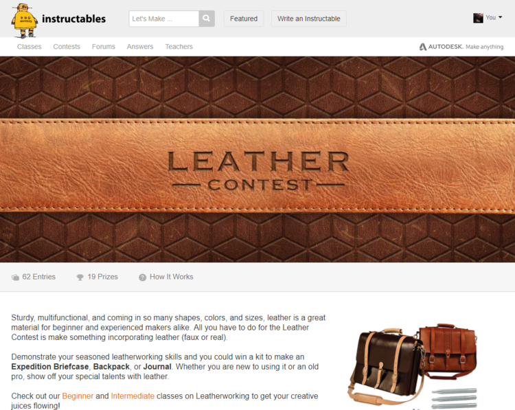 Humble Brag I Won First Prize In The Instructables 2017 Leather