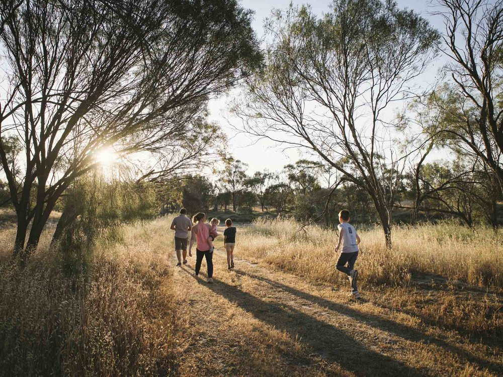 Candid family lifestyle session on sunset with late afternoon light and sun flare on farm in rural country Western Australia