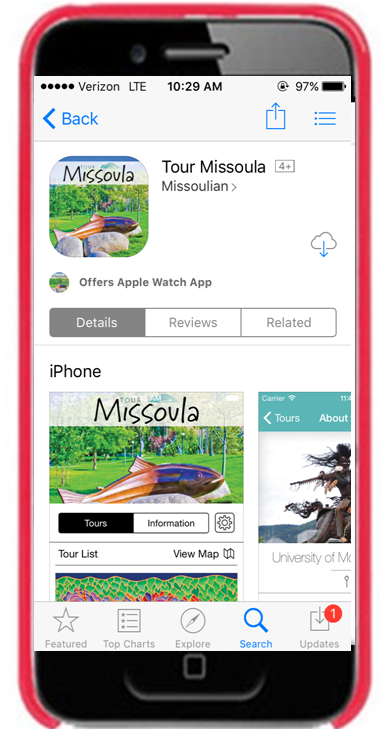 Tour Missoula Mobile App - Take a self-guided Tour of the Missoula area, including Missoula Public Art and University Public ArtTour Missoula App is available for download on iOS and Andriod.Download the app here: Tour Missoula App