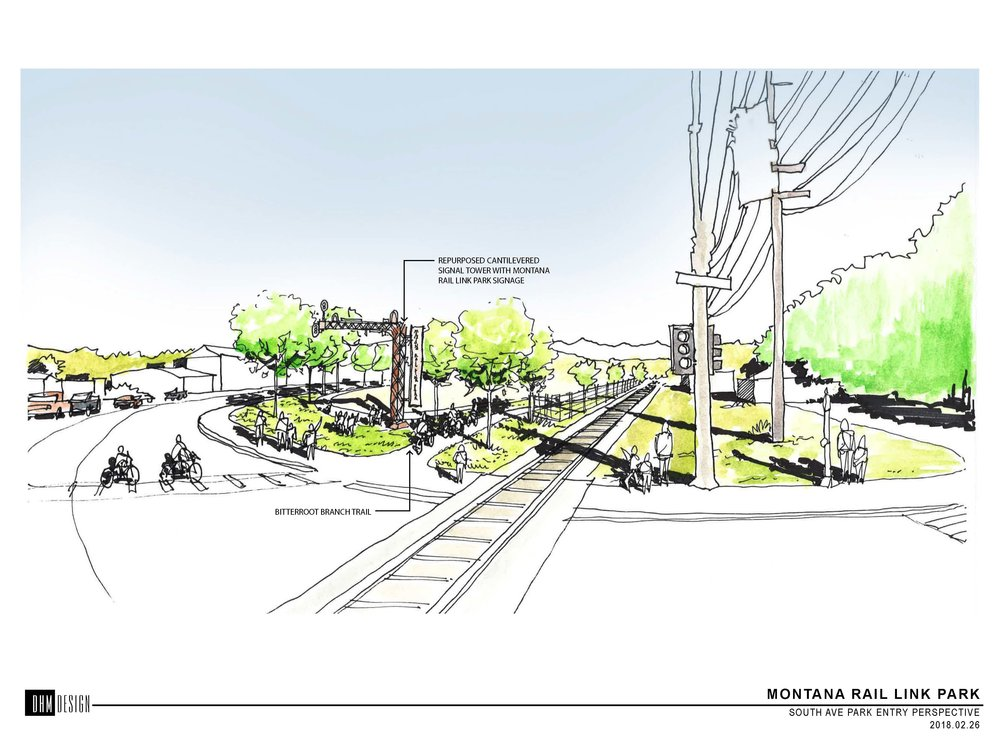 Drawing by Montana Rail Link Park design team of the entrance to the park. [All credit to MRA & MRL for above drawing].