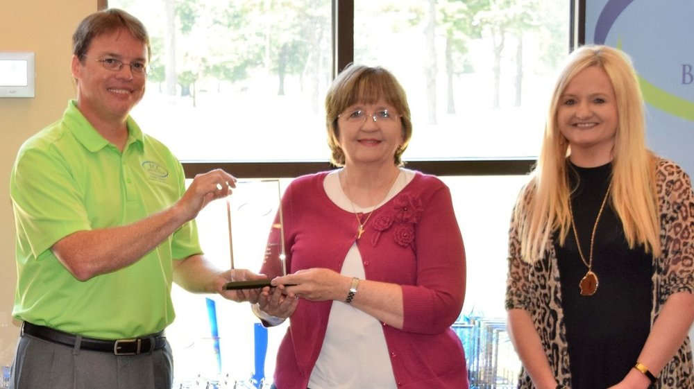 On July 10, 2017, Karen Crook accepted the 2017 Community Partner of the Year Award from Shawn Sando, CEO, FCC Behavioral Health in Kennett, Missouri.  The award was presented to the Butler County Resource Council for effective collaboration to meet the wellness needs of person living in our community