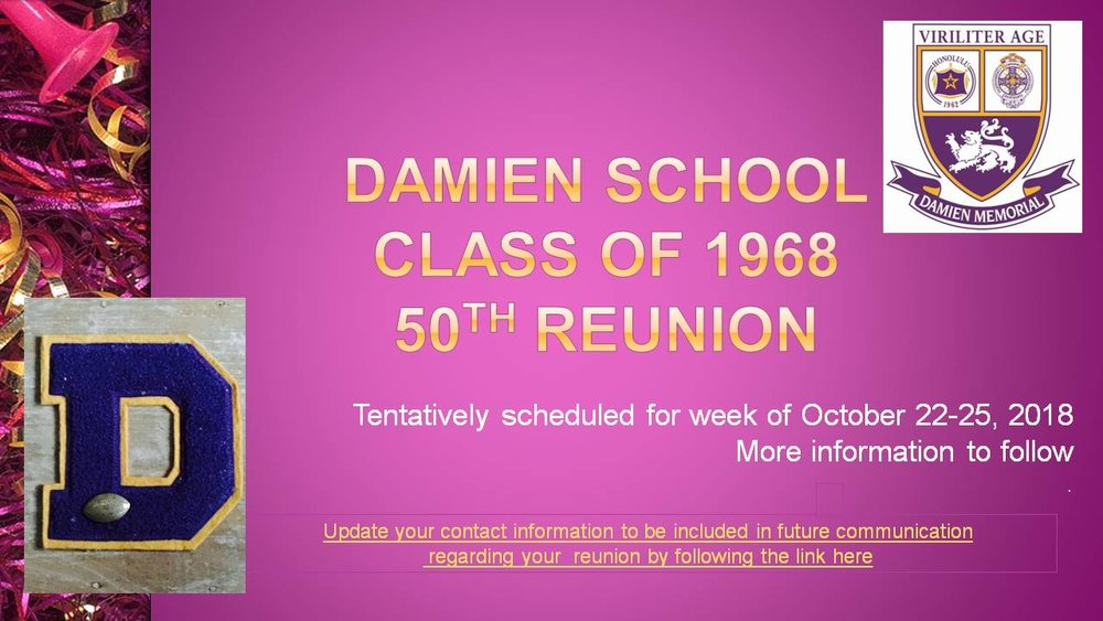 Calling Class of 1968!  Update your contact information today by following the link above today!