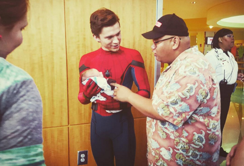 Tom Holland and Jacob Batalon chat during a cast visit to Egleston Children's Hospital in Atlanta, Georgia.  PHOTO COURTESY JACOB BATALON