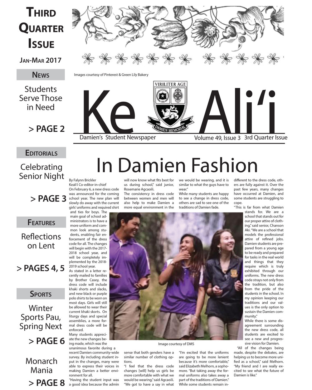 Ke Ali'i  - Click here to visit Ke Ali'i, Damien Memorial School's student newspaper