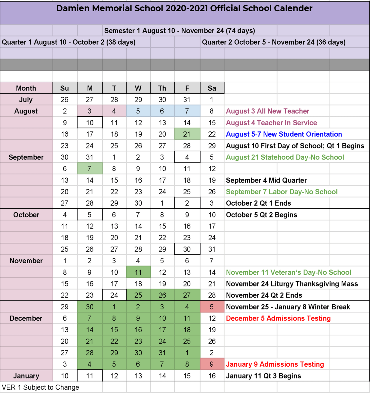 2020 2021 Semester Calendar — Damien Memorial School