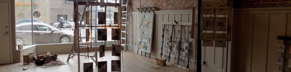 "Installing ""Revealing a Layered Life"" exhibit at Yakima Maker Space Gallery Yakima, Washington May, 2017"