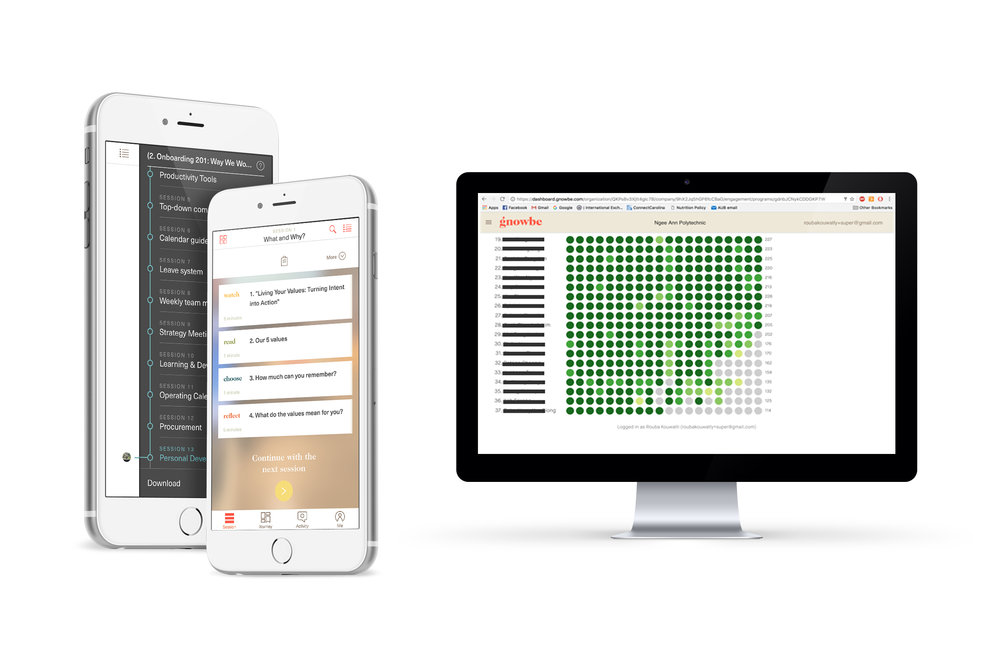 Visual examples of the Gnowbe onboarding application across mobile and desktop devices.