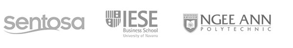 Gnowbe's clients logos, Sentosa, IESE Business School, Ngee Ann Polytechnic