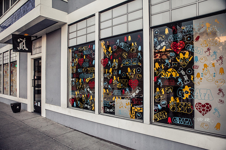 "Aristocrats Boutique Window Mural / 41"" x 62"" Paint Markers on multiple glass / Year of 2012"