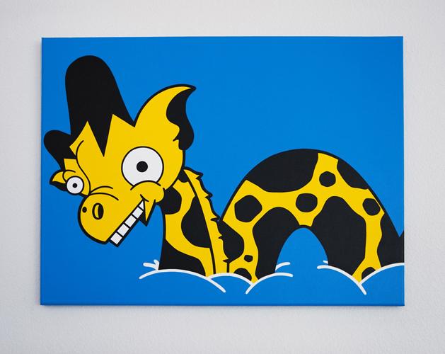 """Lochness Giraffe / 30"""" x 24"""" Acrylic on canvas / Year of 2011"""