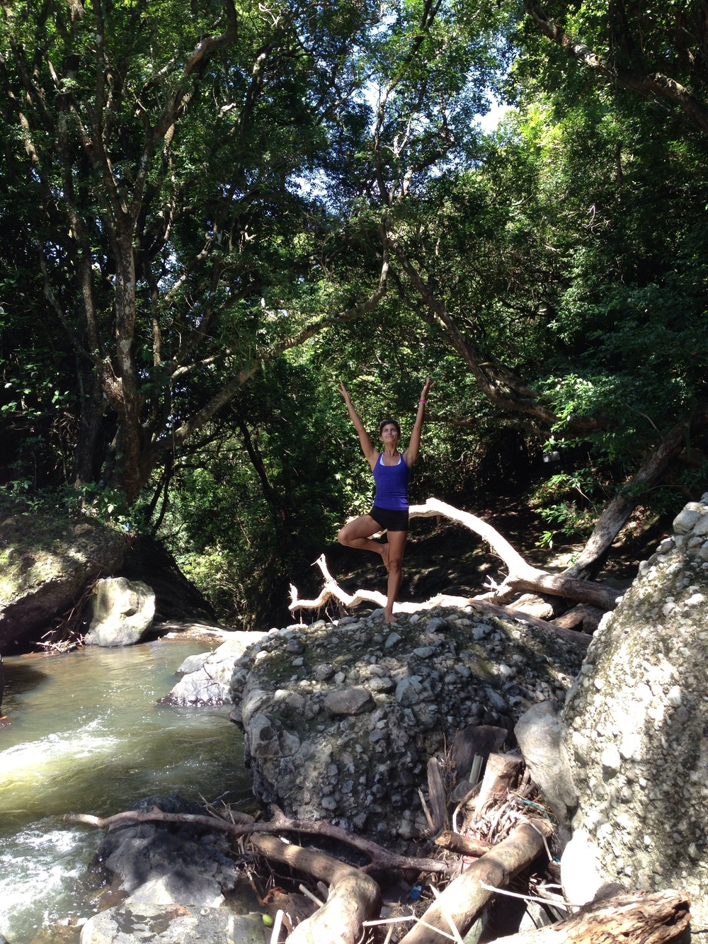 At the top of the steep waterfall... First of many yoga poses in Panama :) lol!