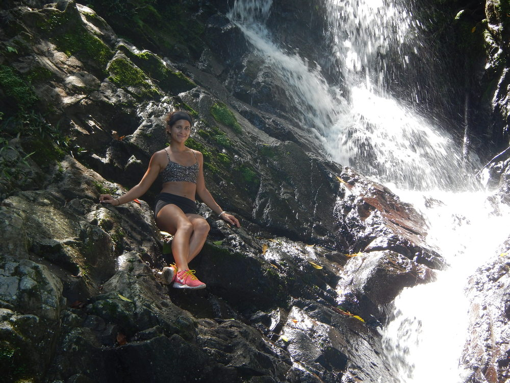 Just had to get as close as I could... :) Waterfall during our hike in La India Dormida.