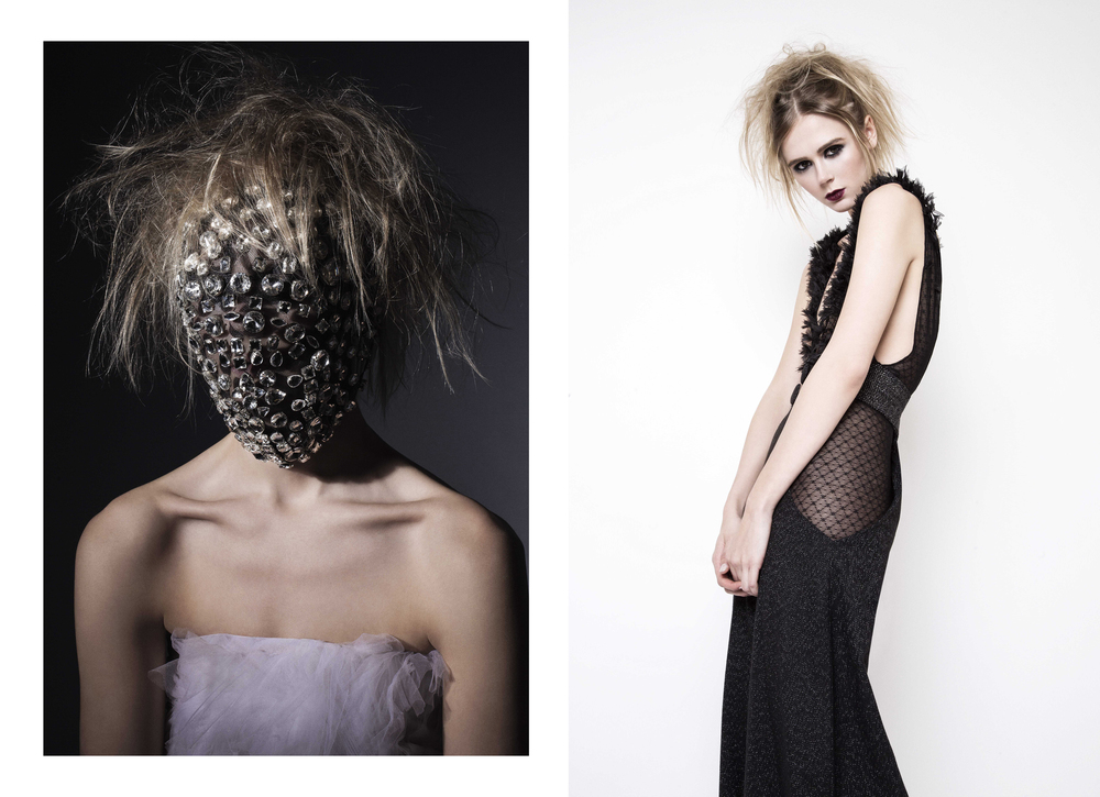 Left -  Dress : Jad Ghandour /  Headpiece : Cutting Edge Archives Right -  Jumpsuit : Roel Rosal