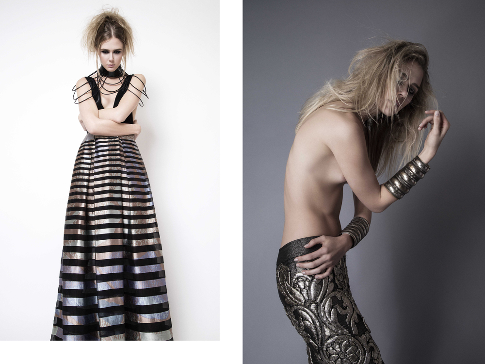 Dress : Pedram Couture /  Necklace : Don't Shoot The Messenger Left -  Pants : Cary Santiago /  Bracelets : Cutting Edge Archive