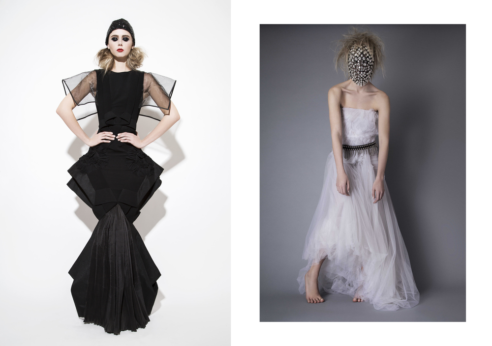 Left -  Dress : Alpana Neeraj /  Headpiece : Cutting Edge Archives Right -  Dress : Jad Ghandour /  Headpiece : Cutting Edge Archives