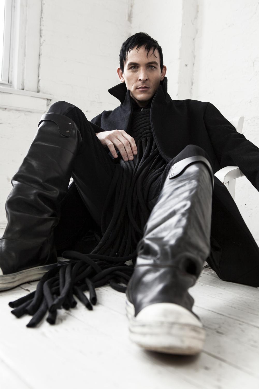 Coat  Geoffrey Mac  /Shirt  Khevyn Xacau  / Fringe Top  Radka Salcmann  /Pants  Dior Homme  / Boots  Rick Owens
