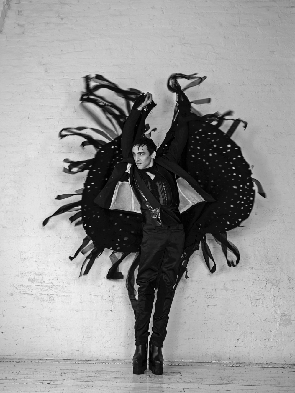 Blazer & Pants  Dior Homme  / Cape  Geoffrey Mac  / Shirt  Saint Laurent  / Vest  Andrew Morrison  / Boots  Chromat  / Cuff  Haze Star  / Bracelet  Bunny Paige