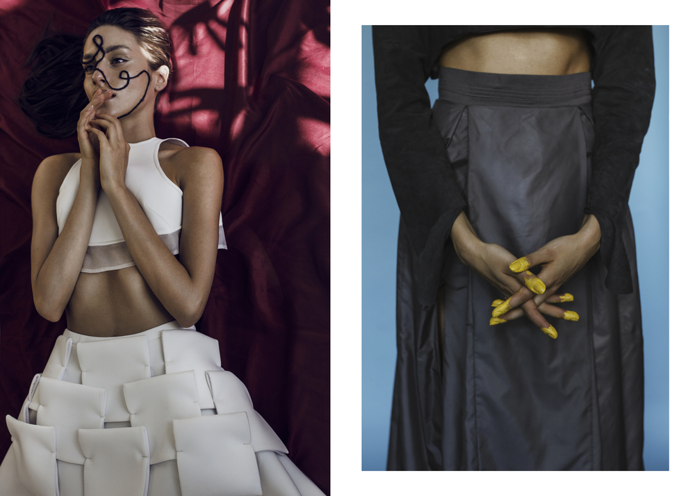 White Top & Skirt:  Maya Baczynska /  Black Top & Skirt:  Agnieszka Kopek