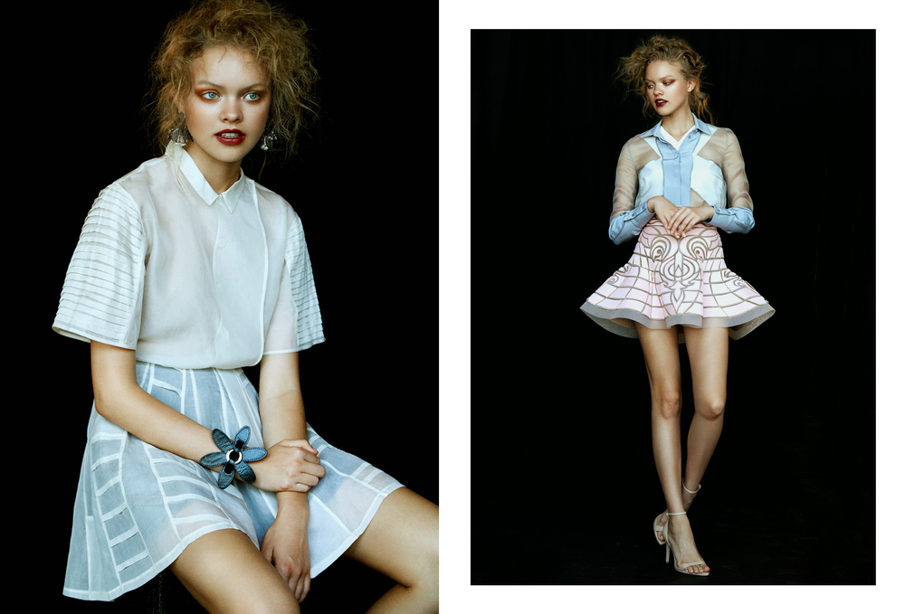 Left // Top & Skirt : Quin /  Earrings : Topshop /  Bracelet : Zana Bayne Right //  Top : Michael Maven /  Shirt : Milo Maria /  Skirt : Nicolas Jebran