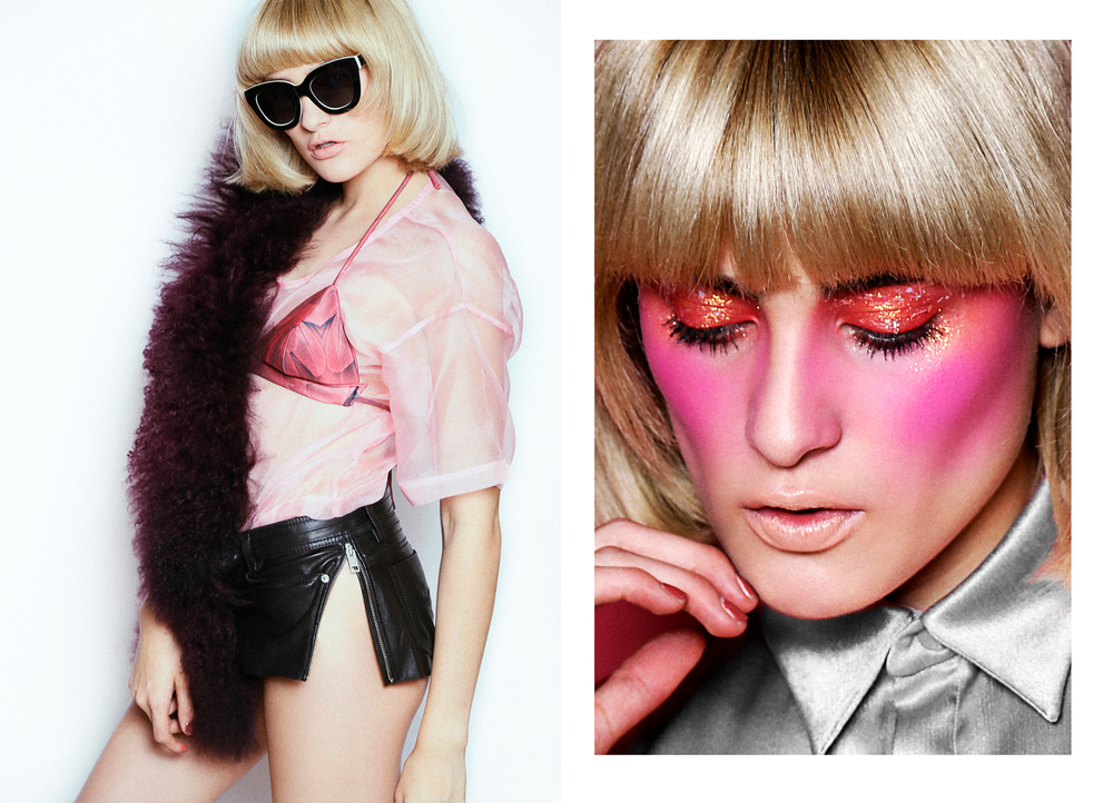 Blouse: ErreMX / Fur: Iceberg / Bra: Benito Santos / Sunglasses: Valentino / Shorts: Diesel Right // Silk Blouse: Gregorio Cayetano