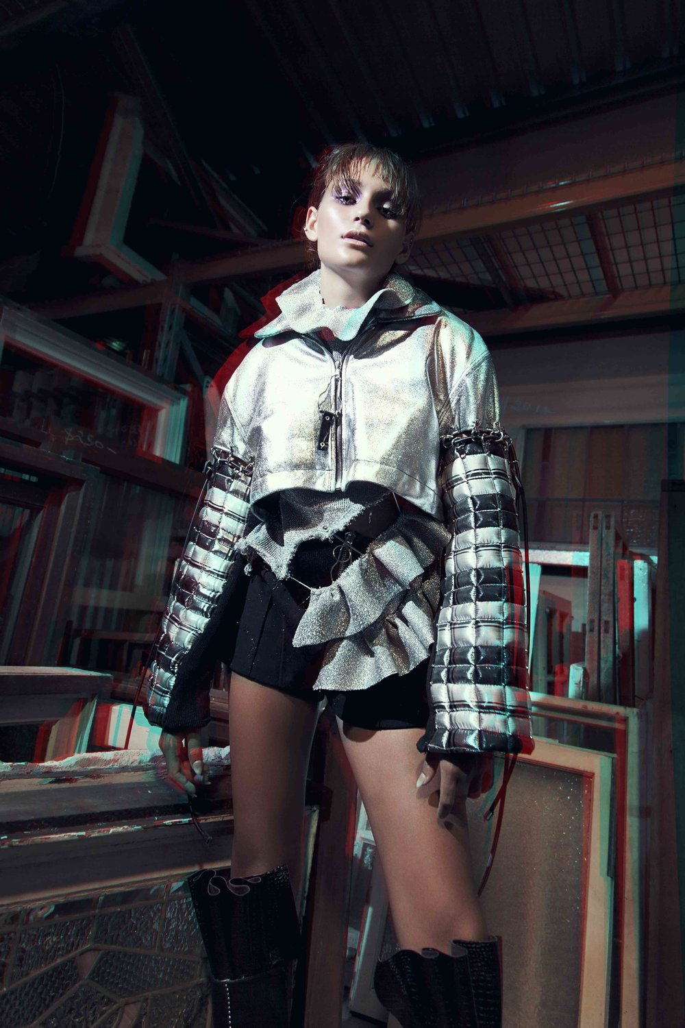 Top & Jacket: Isabella Jacuzzi / Boots: Zephyr Collection by Bronte Armstrong / Shorts: Isabella Jacuzzi
