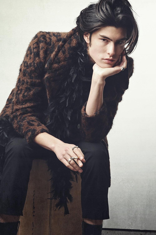 Jacket: Vintage / Pants: Alexander McQueen / Rings: Vintage