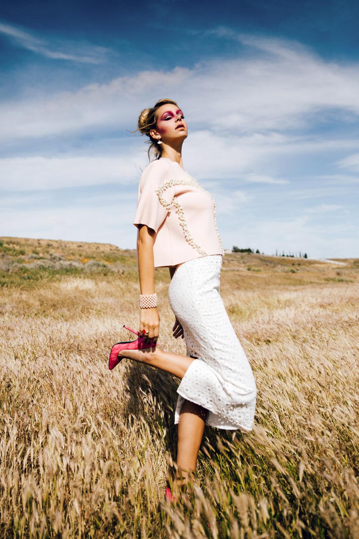 Top: Amelia Jang / Skirt: Lotuz / Earrings & Rings: NMD / Bracelet: NMD / Heels: Vezlaez