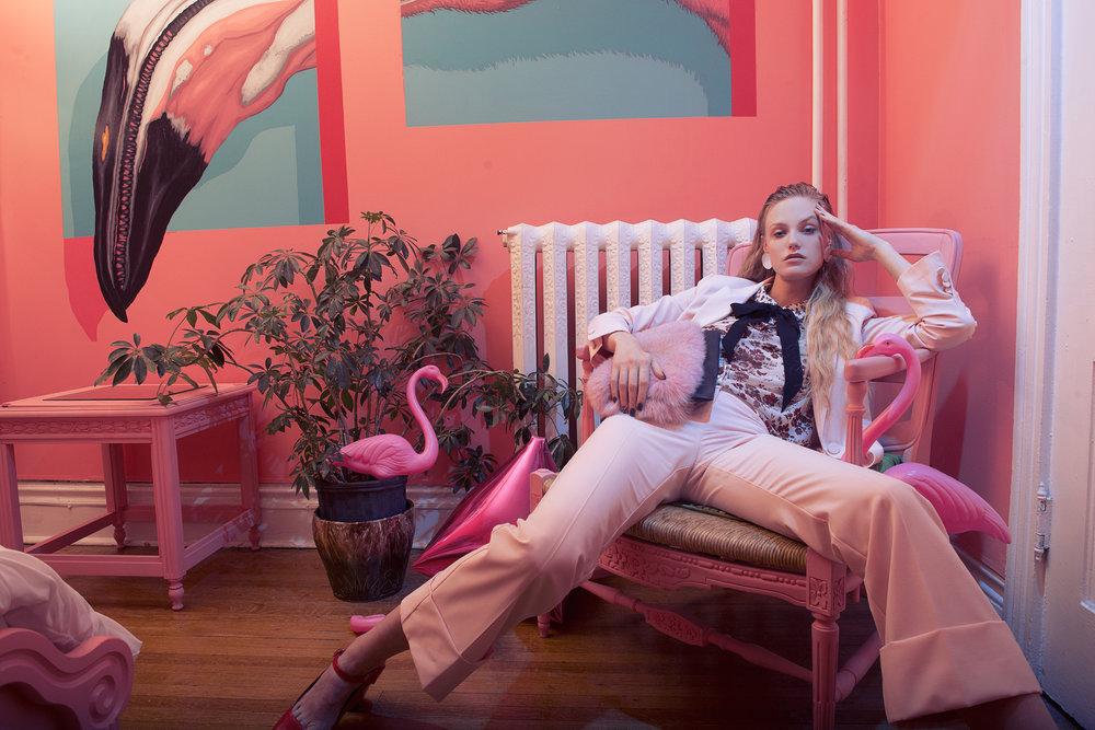Trousers: PINK TARTAN / Blouse: ROBERT RODRIGUEZ / Neck Tie: PINK TARTAN / Shoes: L'Intervalle / Earrings: JENNY BIRD / Purse: BRUNSWICK & CO