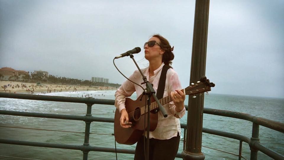 Busking on the Santa Monica pier.