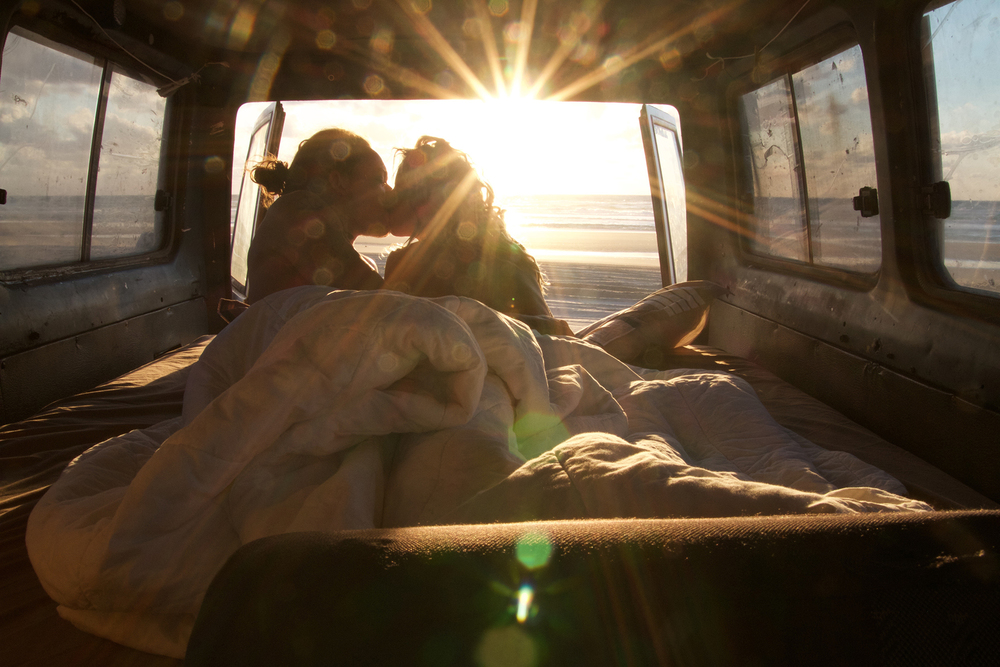 This image was taken at Fraser Island (on self timer, from the front of the Troopy), we arrived at the camp site, on the beach, after-dark and woke up to this sunrise. #Troopylove
