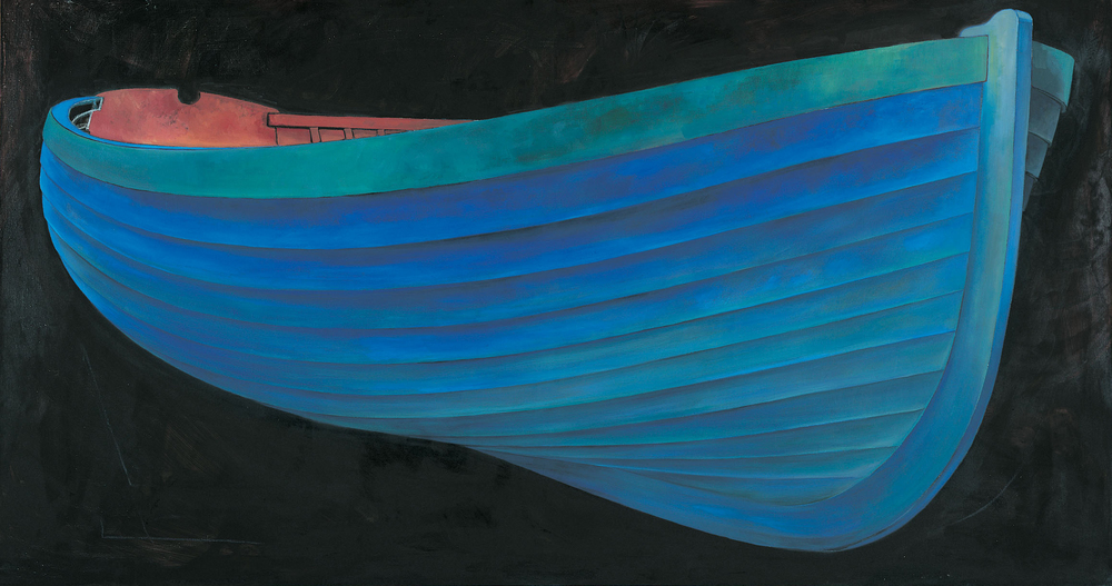 Blue Boat, 2001. 48 x 96'' Oil on Linen. © James Dodds