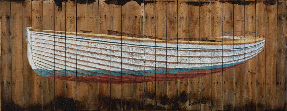 Number 1  (Brightlingsea One Design) 2015. 130 x 335cm Oil on beach hut roof. © James Dodds