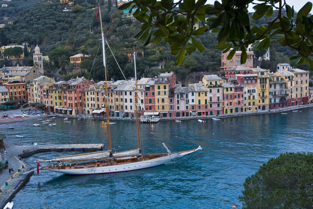 ORION OF THE SEAS stern-to in Portofino, Italy.