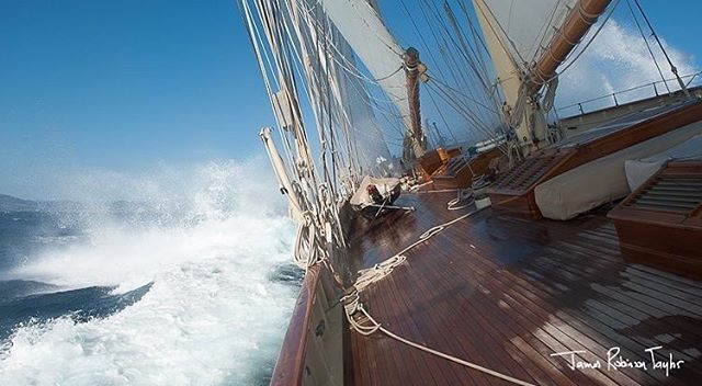 Photographer James Robinson Taylor on board ATLANTIC #repost @jamesrobinsontaylor #sainttropez #lesvoilesdesainttropez #classicyachts