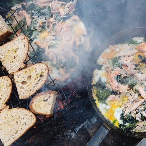 Green eggs and smoked Trout perfect beach food recipe on @classicyacht.tv link in bio - see our Journal for full recipe.  #beachfood #cookingonboard #cookingonaboat #classicboat #classicyacht #circumnavigation #islands #lesvoilesdesainttropez #classicyacht #boatfood #smokedtrout #greeneggs #outdoorcooking #outdoorcookingrocks @missarahglover #privatecatering #wildcookbook #wildcooking #tasmania