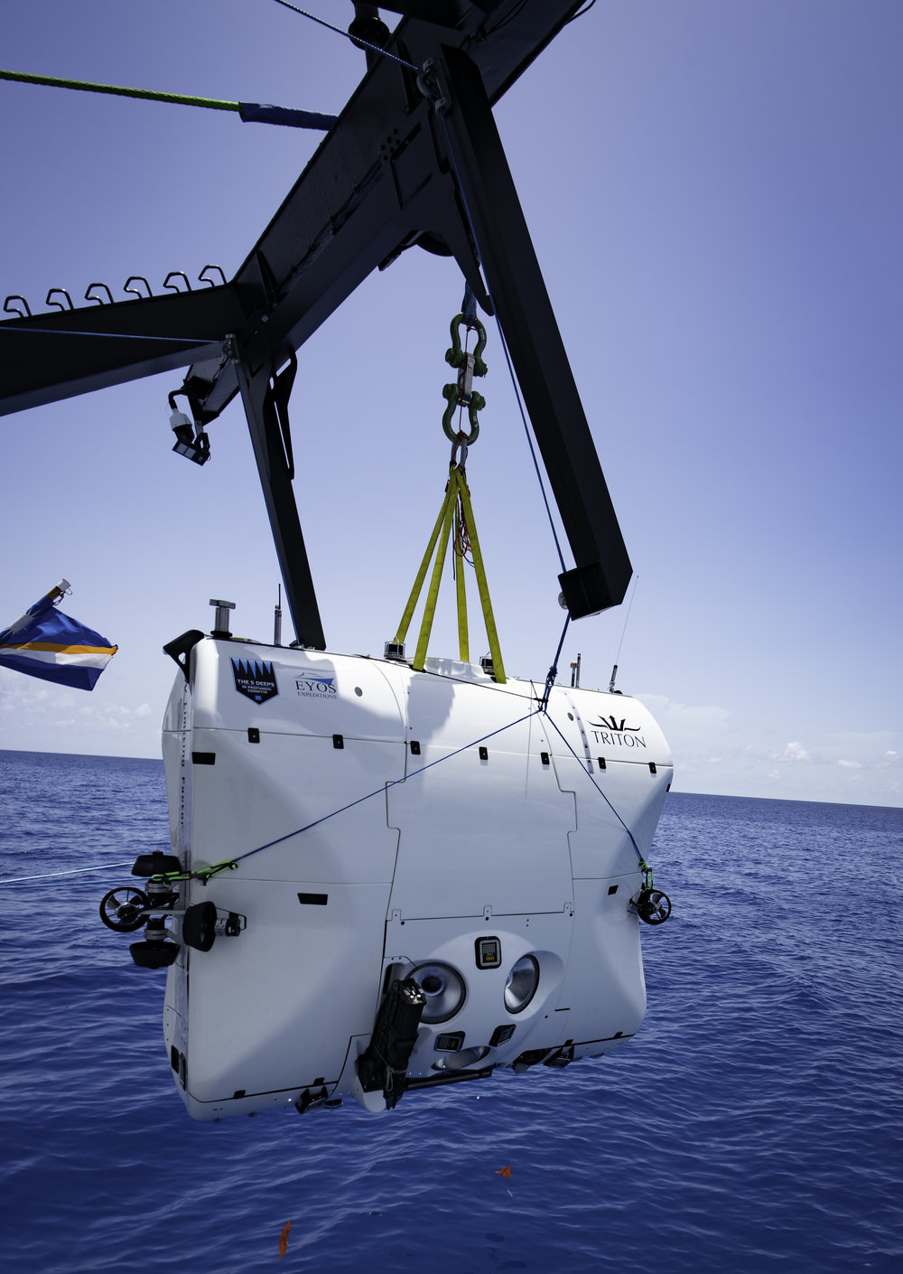 Above: the Full-Ocean-Depth submersible that will contain one scientist/filmmaker and one pilot to the deepest places recorded on earth where only three people have been before. ©EYOS