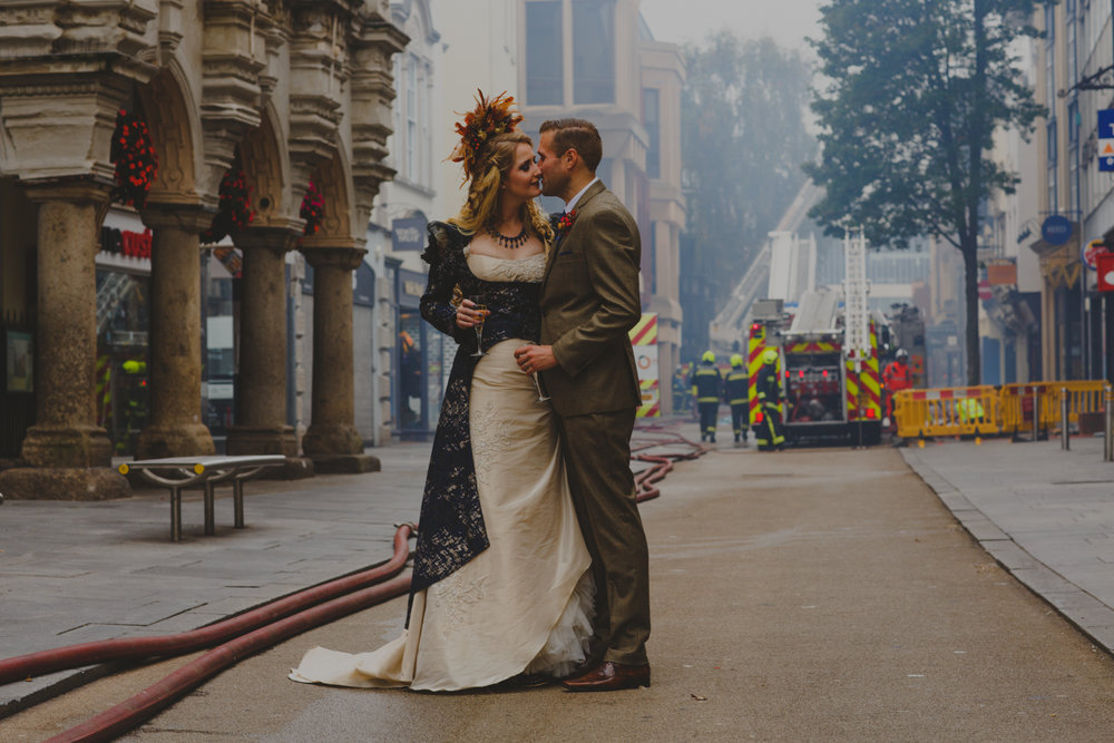 Iconic Exeter Royal Clarence Fire | Exeter Documentary Wedding Photographer Devon Amy Sampson