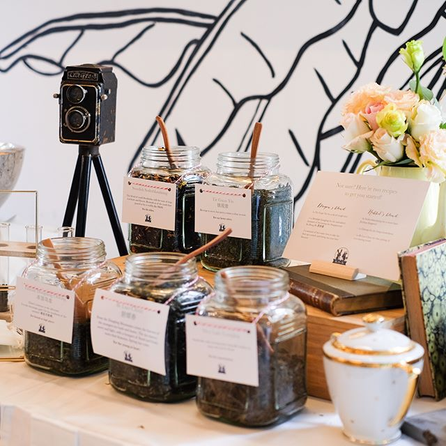 TEA BAR - guests get to concoct their own tea blend and bring them home in a little burlap pouch, or savour it on the spot with the tea bags and hot water provided. Such a nice and thoughtful wedding favour don't you think? . . . . . #styledstory #potd #vintage #vintageprops #vintagepropshire #weddingreception #sgdaily #sgweddings #sgwedding #sgbrides #sgbride #sgweddingprops #igsg #sgig #instabride #weddingideas #instawedding #sg #sginstagram #weddingstyling #fairylights